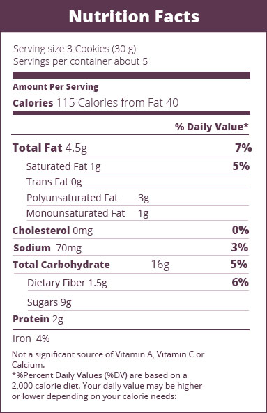 Nutrition facts cookie cupuacu fruit